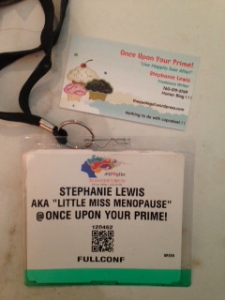 My conference badge and blog biz card.  I ordered them for free, thus the cupcake motif.