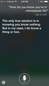 Siri spit this out between hot flashes.