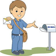 mail carrier delivering to mailbox